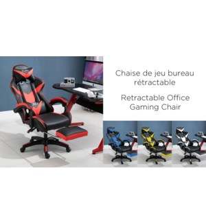 WHITE/BLACK OFFICE GAMING CHAIRS WITH FOOTREST -RETRACTABLE