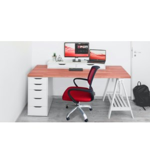 Executive Mesh office Chair ironless steel Bas-Rouge/Noir-W61xD55xH92-103cm-