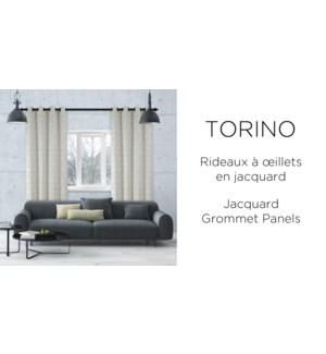TORINO 2pk jacquard grommet top panels  ivory 52x84 6B