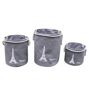 PARIS PANIER DE RANGEMENT AVEC CORDE BLANC/GRIS 34X39CM 2B