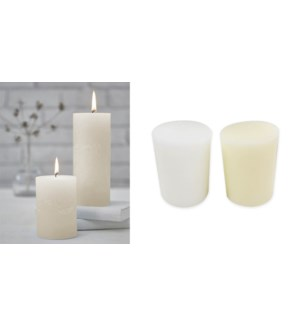 BASIC PILLAR CANDLES 3X4-12B ASST.