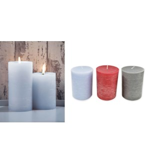 COLOR PILLAR CANDLES 3X6-9B ASST.