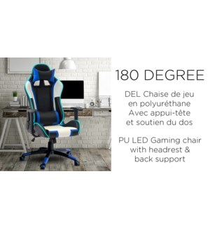 PU Chaise LED GAMING blanche/noire … 180 degr's avec support