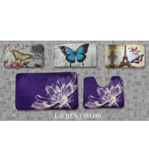 Prnt Bath Mat 2pc 16x24 Asst