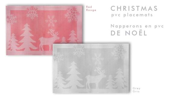 CHRISTMAS PVC Placemat  4/pck GREY