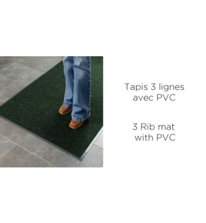 Tapis 3 Ligne avec PVC Asst 40x60 - 30B