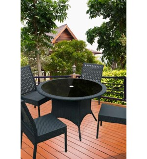 5 PC PE RATTAN DINING SET WITH ALUMINUM FRAME