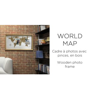 Clip de carte du monde avec cadre 45x25-8B