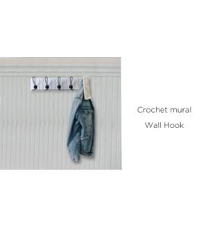 Crochet mural blanc 63.5x14x7.5 - 8B