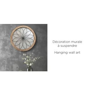 Art de mur en bois avec fleur en metal 60cm - 6B