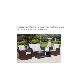 4PCS. WICKER OUTDOOR SET BLK