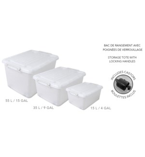 55LT CLEAR STORAGE TOTE  W/LID AND CASTORS 10/B