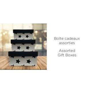 BoŒte-cadeau carr'e-Noir/Blanc-225X225-BOXES 4/ctn