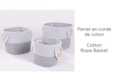Panier en corde de coton LT Gry ray' 22x22x22 - 4B
