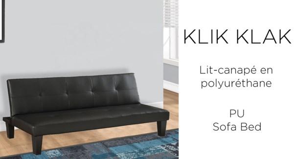 """PU BLACK  KLIK-KLAK SOFA/BED 68x36.5"""""""