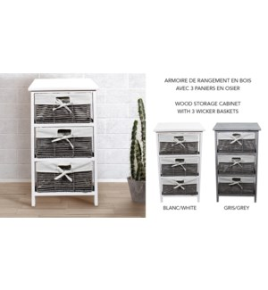 MDF Wood Storage Carbinet  W/3 Wicker Baskets 38X33X66cm whi
