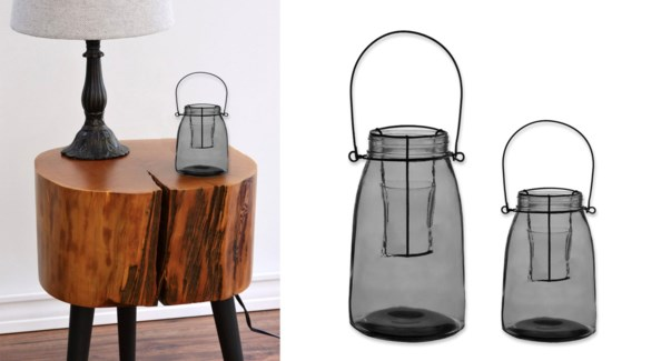 Bowery Small Glass Lantern Grey-Clear  8B