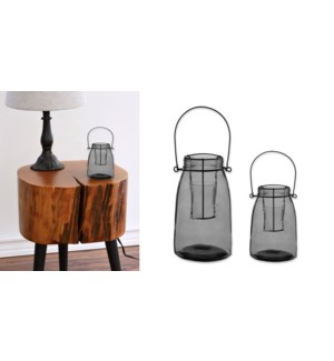 Bowery Large Glass Lantern Grey-Clear - 8B