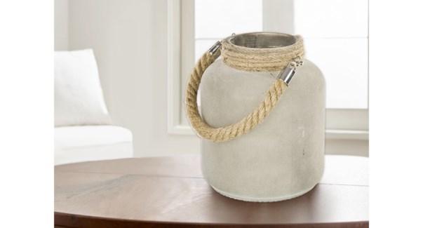 Jute Lantern Ivory -15.8x15.8x18.5-6B