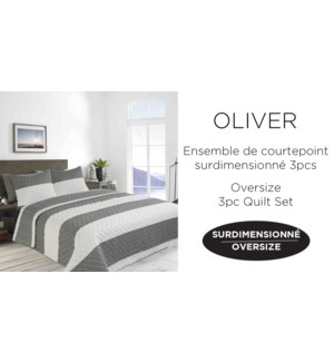 OLIVER  wide stripe 3 pc quilt set 108X90 GREY 2/B