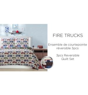 FIRETRUCKS EN ROUTE 2 pc quilt set red blue T 2/B