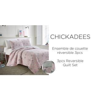 CHICKADEES 2 pc quilt set pink grey T  2/B