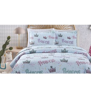 MF-PRINCESS CROWN sky blue-F 80x86-3pc QUILT SET