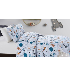 MF-ASTRONAUTS  grey-F 80x86-3pc QUILT SET