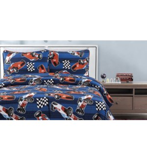 MF-RACER BLUE-F 80x86-3pc QUILT SET