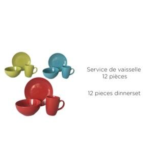SET DE VAISSELLE 12 MCX, VERT, 3 SETS/BOX