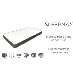 SLEEPMAX  Mattress Roll pack in woven bag 17cm T