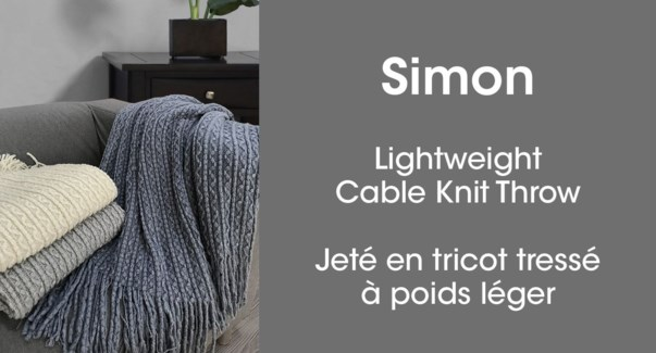 Simon cable knit throw ivory 50*60 6/b