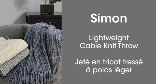 Simon cable knit throw silver 50*60 6/b