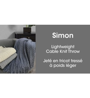 Simon cable knit throw silver 50*60 6/b