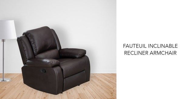 Fauteuil inclinable brun PU + PVC 92x98x99cm