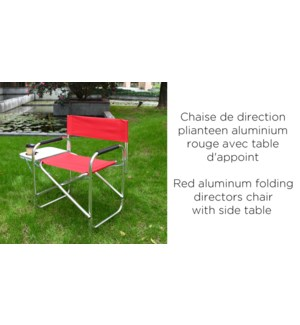 RED ALUMINUM FOLDING DIRECTORS CHAIR WITH SIDE TABLE 6/B