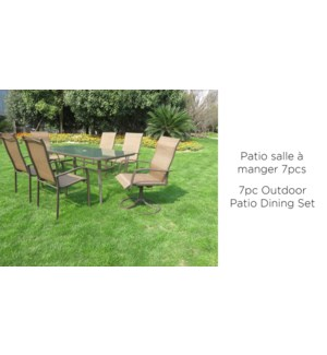 7PC OUTDOOR PATIO DINING SET INCLUDES TABLE-4X CHAIRS AND 2