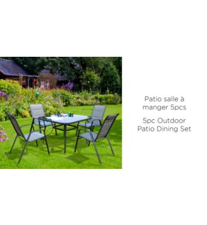 OUTDOOR DINING SET W/SQAURE TABLE /4 CHAIRS