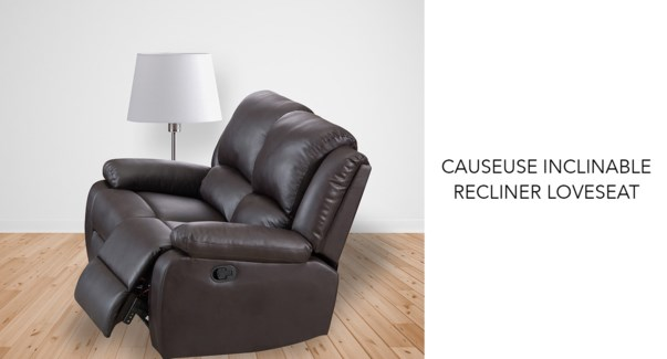 Causeuse inclinable brun PU + PVC 147x98x99cm