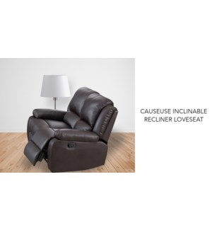 Causeuse inclinable brun PU + PVC 147x98x99cm