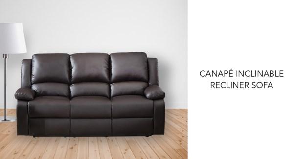 Canap' inclinable brun PU + PVC 199x98x99cm