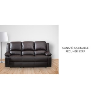 Canap' inclinable brun PU + PVC 199x98x99cm