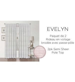 Evelyn 2 pk semi sheer pole top 38X84 WHITE 12/B