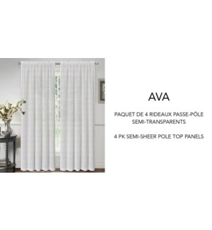 AVA 4 pk semi sheer pole top 52X84 WHITE 12/B
