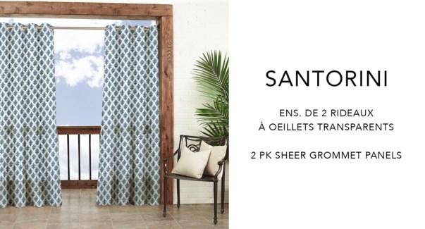 Santorini 2 pk prt sheer grmt panels 52x84  white/blue 6/b