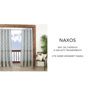 Naxos 2 pk prt sheer  grmt panels 52x84   white/grey 6/B
