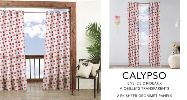 Calypso 2 pk prt sheer grmt panels 52x84   white/coral 6/b