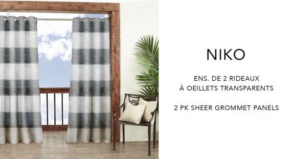 Niko 2 pk prt sheer grmt panels 52x84   white/grey 6/B