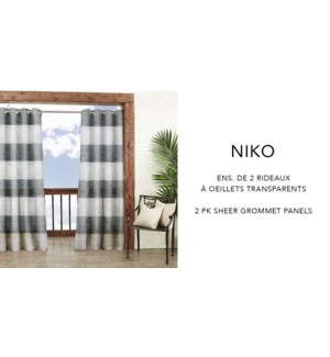 Niko 2 pk prt sheer grmt panels 52x84   white/grey 6/B