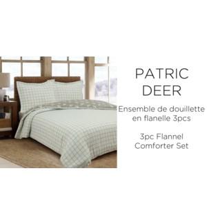 3PC PATRIC DEER cotton FLANNEL-Gris-F/Q 90X90-comforter set